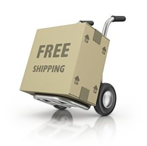 Hand Cart With Box That Reads Free Shipping