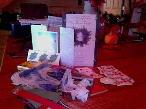 Recycled cards and embellishments.