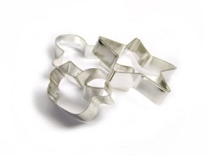 Three Steel Cookie Cutters on a White Background