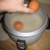 Cooking hard boiled eggs in a rice cooker.