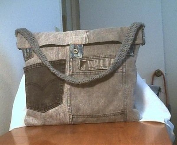 Second photo of the jeans laptop bag.