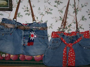 Two cute jeans purses.