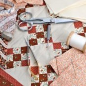 Quilting Tips and Tricks, Nine patch quilt block and tools.