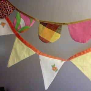 Decorative cloth banners.