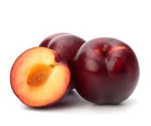 Canning Plums, Storing Plums. Selecting Good Plums. Ripe Plums on White Background
