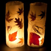 leaf decorated autumn leaf lanterns