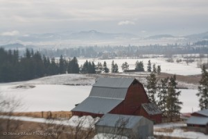 Winter Scenes of Chewelah, WA, Red Barn Looking Down Towards Town