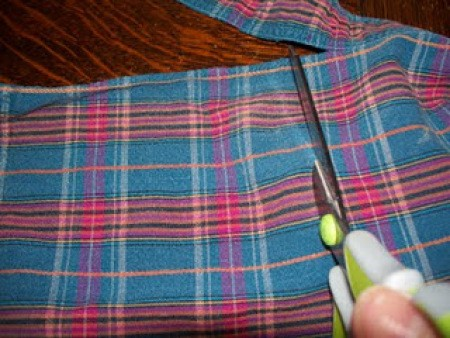 Cutting flannel squares.