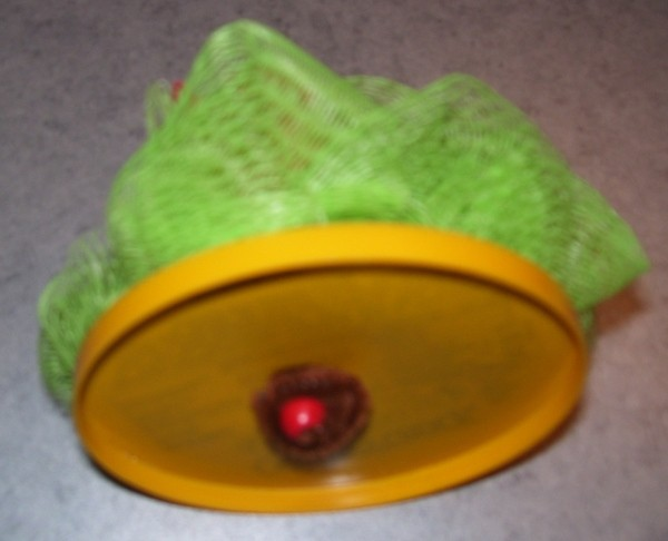 Bead holding green loofah to other end of plastic lid