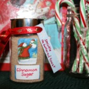 Homemade cinnamon sugar shaker jar with tag.