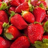 Pile of strawberries.