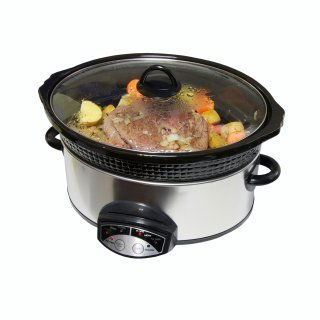 Roast and vegetables in crockpot.