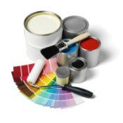 Bathroom Paint Color Advice, Several paint cans, paint chip cards, and a roller and brush.