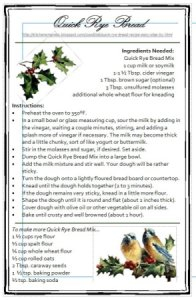 Recipe card for rye bread.