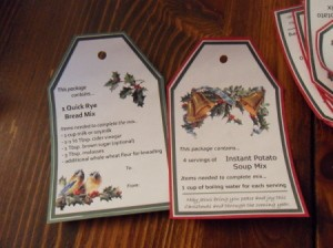 Closeup of gift tags.