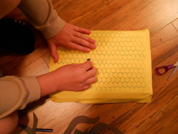 Making a rubbing of the honeycomb packing material.