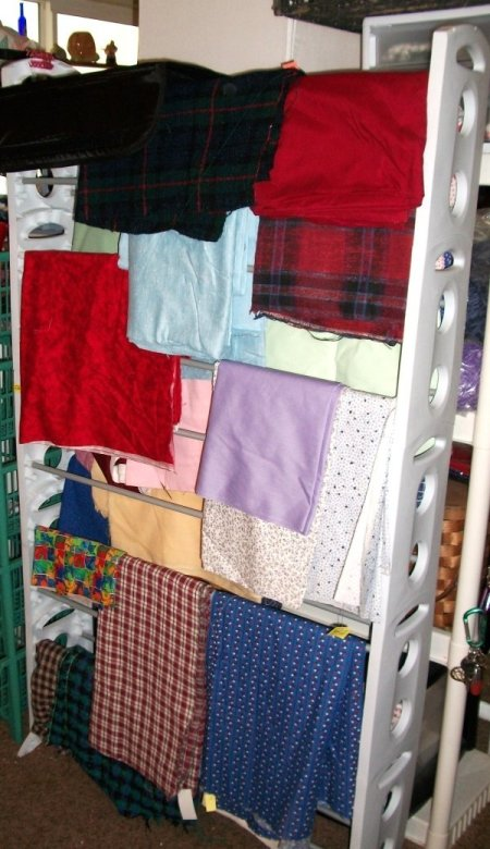 A shoe rack for storing fabric