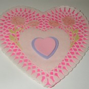 Doily heart Valentine's Day decoration.