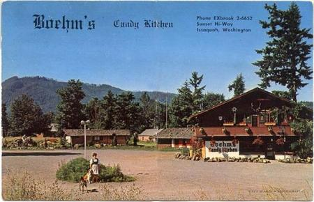 Postcard from 1960's showing Boehm's Candy Kitchen in Issaquah, Washington