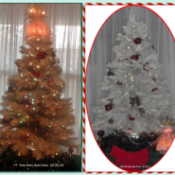 Two views of the white Christmas tree.