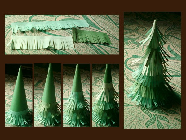 Strips of cut paper and building the tree.