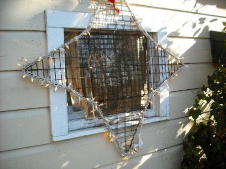 Homemade crab trap lighted Christmas star.