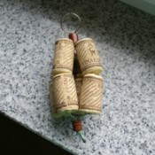 Photo of a wine cork key ring.