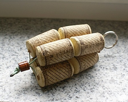 Second photo of a wine cork key ring.