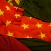 Red fleece scarf with stars.