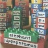 "Stacks of Megablocks with white surgical tape across the front. Words like ""hippopotomus"", ""elephant"", and ""her"" are written on them."