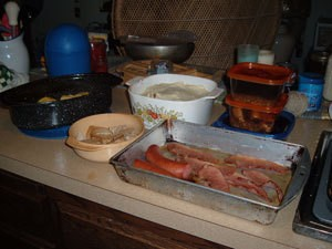 Meals being prepared for the freezer.
