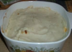 A prepared turkey casserole for the freezer.