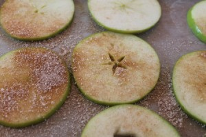 Apple slices with spiced sugar.