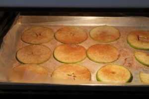 A baking sheet of apple slices being dried.