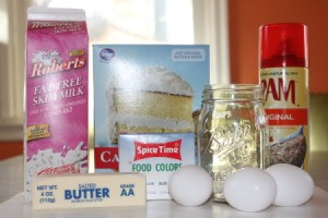 All the ingredients for making rainbow cakes in jars.