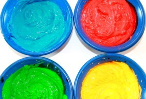 Brightly colored cake mix for rainbow cakes.
