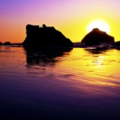 Beautiful sunset over ocean at Face Rock in Bandon, Oregon