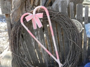 Finished heart on vine wreath.