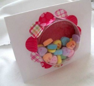 A Valentine's Day window card with candy hearts.