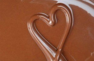 A heart drawn in chocolate.