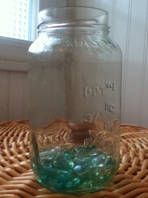 Marbles in a clean mason jar.