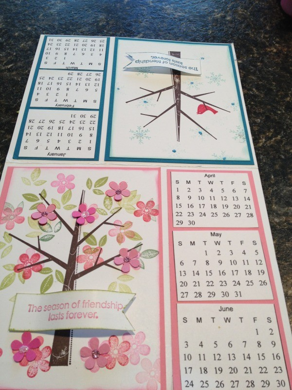 Winter and spring calendar images.