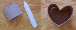 Cut roll, bone folder, and shaped heart.