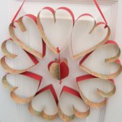 Wreath hanging on door.