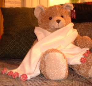 A velvet scarf displayed on a teddy bear.