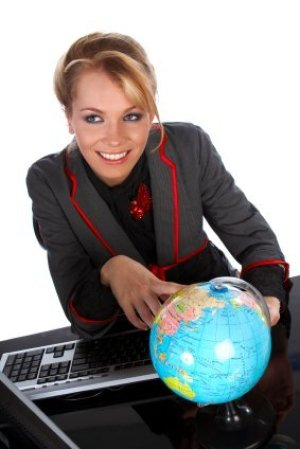 Selecting a Travel Agent, Travel Agent Pointing at Small Globe