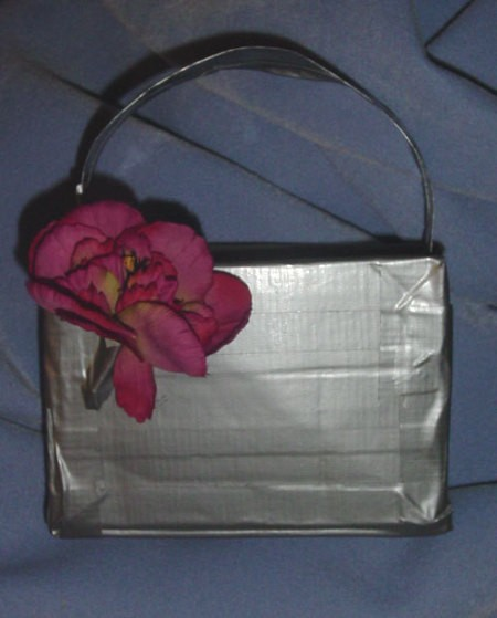 Finished Duct Tape Purse with a flower
