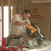Home Improvement - Installing Crown Molding, Man Cutting Crown Molding