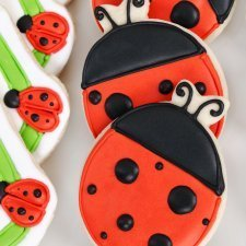 Making Ladybug Cookies, Cookies decorated as ladybugs.
