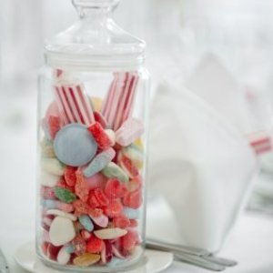 Tiny candy jar wedding favor.
